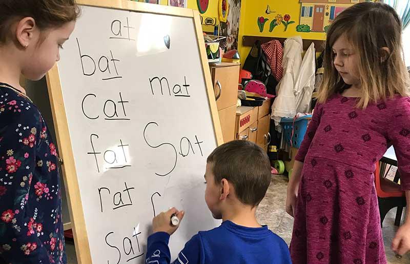 Photo of our kindergarten students at our Methuen, Massachusetts school